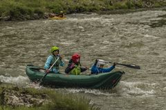 Kayak boats on Dunajec river in Pieniny national park stock photography