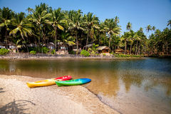 Kayak boats at Goa beach Royalty Free Stock Image