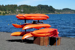 Kayak boats rent near the seaside Royalty Free Stock Photos