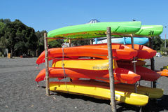 Kayak boats rent near the seaside Royalty Free Stock Images