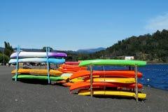 Kayak boats for rent royalty free stock photos