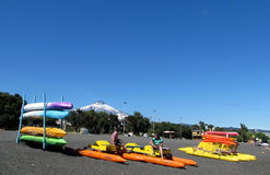 Kayak boats rent near Villarica volcano in Chile Stock Photo