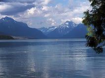 Kayak at Bowman Lake Glacier National Park Stock Photo