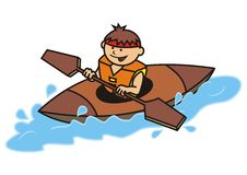 Kayak and boy Royalty Free Stock Photography