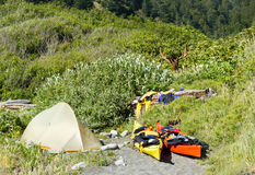 Kayak camping in Siskiyou Wilderness, North California Royalty Free Stock Images