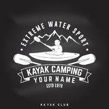 Kayak camping. Vector illustration. Royalty Free Stock Image