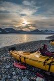 Kayak campsite near glacier front in Svalbard Stock Photos