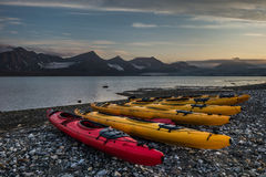 Kayak campsite near glacier front Stock Photos