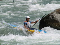 Kayak and Canoe. Italian Championship of Canoe under 23 specialties slalom held in Piateda  in the river Adda Royalty Free Stock Image