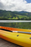 Kayak and canoe at Blue Lake or Lagoa Azul in Sete Cidades  Sao Miguel Azores island Portugal Royalty Free Stock Image
