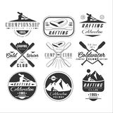 Kayak and canoe emblems, badges, design elements Royalty Free Stock Images