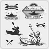 Kayak and canoe emblems, labels, badges and design elements. Print design for t-shirts. Kayak and canoe emblems, labels, badges and design elements. Vector set royalty free illustration