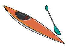 Kayak or Canoe with Paddle. Illustration Royalty Free Stock Image
