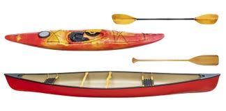 Kayak, canoe and paddles isolated Royalty Free Stock Image