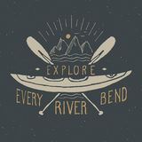 Kayak and canoe vintage label, Hand drawn sketch, grunge textured  Royalty Free Stock Photography