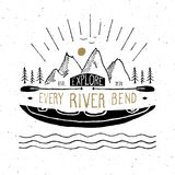 Kayak and canoe vintage label, Hand drawn sketch, grunge textured  Royalty Free Stock Photos