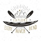 Kayak and canoe vintage label, Hand drawn sketch, grunge textured retro badge, typography design t-shirt print, vector illustratio Royalty Free Stock Photos