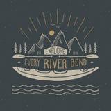 Kayak and canoe vintage label, Hand drawn sketch, grunge textured retro badge, typography design t-shirt print, vector illustratio royalty free illustration