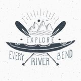 Kayak and canoe vintage label, Hand drawn sketch, grunge textured retro   Royalty Free Stock Image