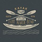 Kayak and canoe vintage label, Hand drawn sketch, grunge textured retro  Royalty Free Stock Photography