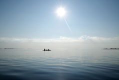 Kayak at coast of the White sea Stock Image