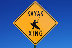 Kayak Crossing Sign Stock Images