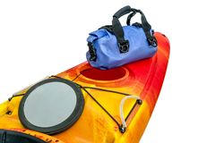 Kayak deck with open hatch and dry bag Stock Photos