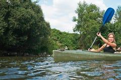 Kayak delle donne fotografie stock
