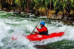 Kayak di Whitewater sul fiume di Kaituna fotografia stock