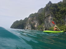 Kayak in emerald sea Stock Photo