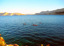 Kayak fahren, Baska, Insel Krk, Kroatien Lizenzfreies Stockfoto
