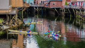 Kayak fahrende Nebenfluss-Straße stockfoto