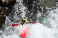 Kayak fahrender Forrest-Wasserfall Slowenien Lizenzfreies Stockbild