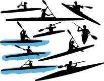 Kayak fahrendes Vektorschattenbild Lizenzfreies Stockbild