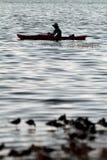 Kayak Fishing. Man in his kayak fishing with shore birds in the foreground Stock Photos