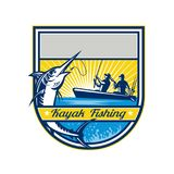 Kayak Fishing Blue Marlin Badge Royalty Free Stock Image