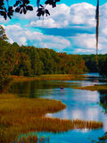 Kayak giù il fiume Fotografie Stock Libere da Diritti