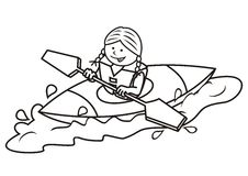 Kayak and girl, coloring book Royalty Free Stock Photo