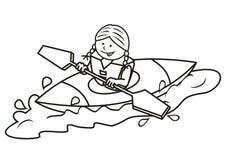 Kayak and girl, coloring book royalty free illustration