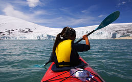 Kayak at glacier Stock Photo
