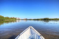Kayak glides through water along the coastline of Marco Island, royalty free stock images
