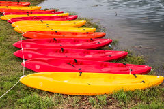 Kayak group on river in the national park. Royalty Free Stock Image