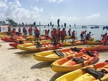 Kayak guided tour in CocoCay. Kayak boat guided tour in CocoCay Island, Bahamas royalty free stock photos