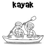 Kayak with hand draw transport Stock Images