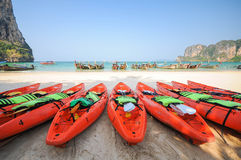 Kayak. Happy time when stay on the beach Royalty Free Stock Images