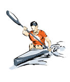 Kayak illustration man practice boating. Boating, free throw during a sports competition Royalty Free Stock Photos