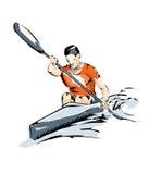 Kayak illustration man practice boating Royalty Free Stock Photos