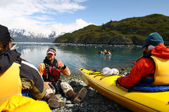 Kayak Instruction in Alaska Royalty Free Stock Photos