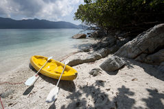 Kayak on an isolated island beach Royalty Free Stock Photo