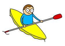 Kayak kid. Illustration of cartoon style little kid on yellow kayak - isolated on white background Stock Images